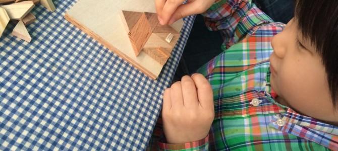 二子玉川ライズ「縁日」で寄せ木ブローチ作り。5月6日まで開催中